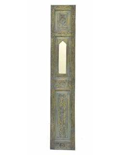 Dřevěný panel se zrcadlem vyrobený ze starých dveří,, 35x3x194cm