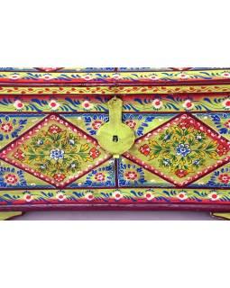 Truhla z teakového dřeva, ručně malovaná, 71x36x43cm