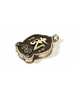 Stříbrný ovevírací přívěsek - medailonek, tibetský Óm, AG 925/1000