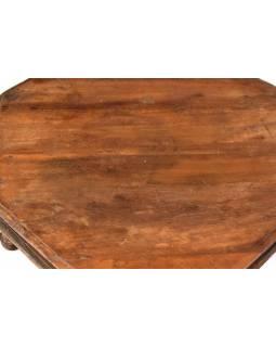 Zdobený čajový osmiboký stolek z teakového dřeva, 52x52x16cm