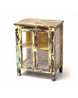 Prosklená skříňka z teakového dřeva, 44x30x57cm