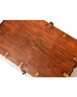 Truhla z teakového dřeva, železné kování, 60x38x26cm