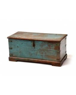 Truhla z teakového dřeva, tyrkysová patina, 66x31x30cm