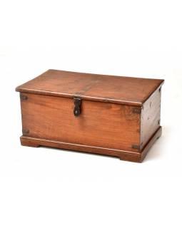 Truhla z teakového dřeva, železné kování, 63x37x30cm