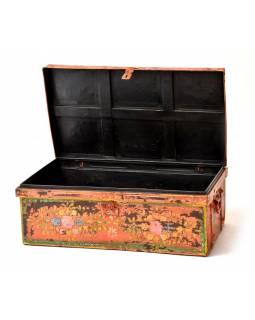 Plechový kufr, ručně malovaný, 77x45x30cm