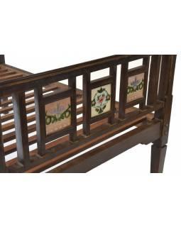 Stará postel z teakového dřeva, zdobená zrcátky, 194x121x110cm
