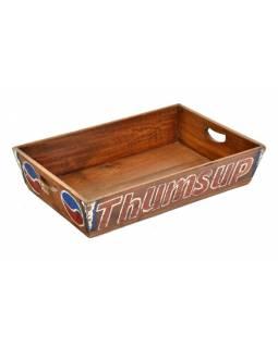 """Vintage dřevěný tác, """"THUMBS UP"""", ručně malovaný, 46x30x10cm"""