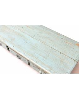 Konferenční stolek z teakového dřeva, tyrkysová patina, 120x55x29cm