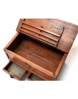 Starý kupecký stolek z teakového dřeva, šuplíky, 68x44x47cm