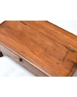 Starý kupecký stolek z teakového dřeva, 71x42x30cm