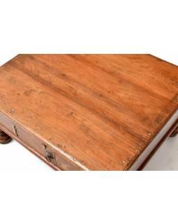 Starý kupecký stolek z teakového dřeva, 68x60x34cm