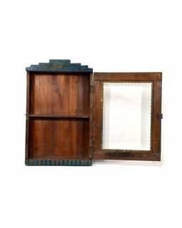 Prosklená skříňka z teakového dřeva, tyrkysová patina, 34x11x53cm