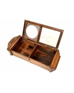 Prosklená skříňka z teakového dřeva, antik 27x13x13cm
