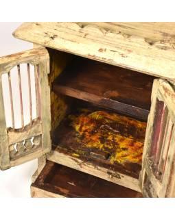 Skříňka z teakového dřeva s mříží, krémová patina, 35x24x49cm