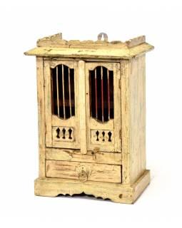 Skříňka z teakového dřeva s mříží, bílá patina, 35x24x49cm