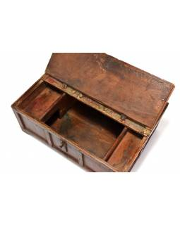 Stará truhlička - šperkovnice z antik dřeva, šedozelená patina, 41x30x17cm