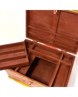 Truhla, šperkovnice, z teakového dřeva, ručně malovaná, 47x35x26cm