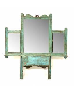 Zrcadlo s poličkou v rámu z teakového dřeva, 43x8x46cm