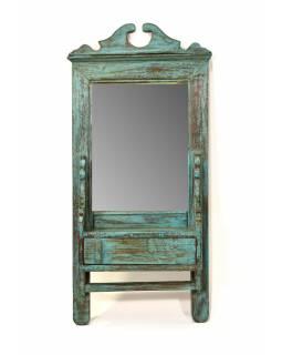 Zrcadlo s poličkou v rámu z teakového dřeva, 33x11x70cm