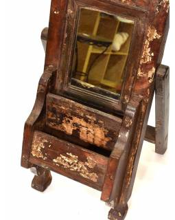 Zrcadlo s poličkou v rámu z teakového dřeva, 22x11x53cm