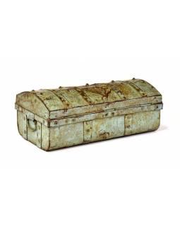 Plechový kufr, tyrkysový, 58x30x22cm