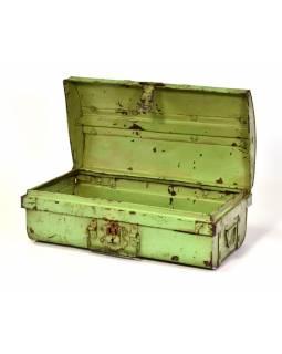 Plechový kufr, zelený, 50x28x20cm