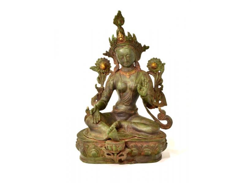 Zelená Tára, kovová soška, zelená patina, 48cm
