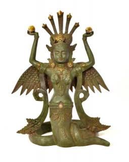 Naga Kanya, kovová soška, zelená patina, 48cm