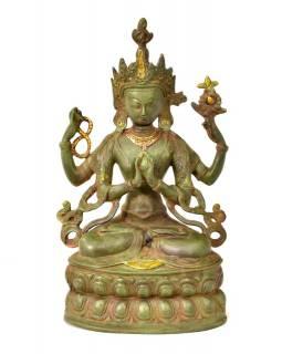 Avalokitešvara, kovová soška, zelená patina, 36cm