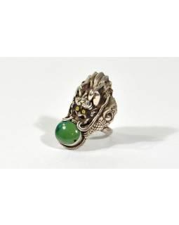 Stříbrný masivní prsten se zdobenou dračí hlavou vykl.tyrkysem, 4cm, AG 925/1000