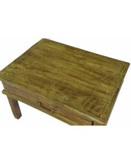 Stolek z teakového dřeva, zelená patina, 52x39x34cm