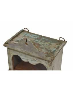 Prosklená skříňka z teakového dřeva, šedozelená patina, 25x17x39cm