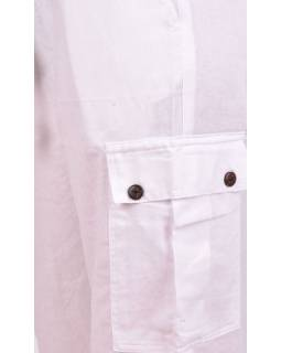 Bílé unisex kalhoty s kapsami, elastický pas
