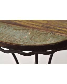 Stolička z teakového dřeva, železné nohy, 41x41x60cm