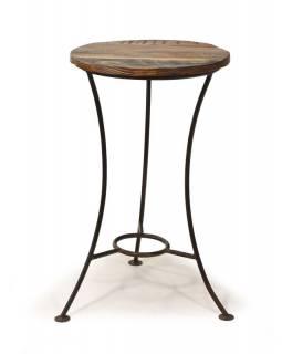 Stolička pod kytku z teakového dřeva, železné nohy, 38x38x63cm