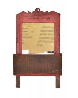 Zrcadlo s poličkou v rámu z teakového dřeva, 27x9x41cm