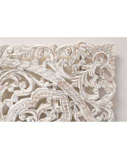 Ručně vyřezaná mandala z mangového dřeva, bílá patina, 120x120cm