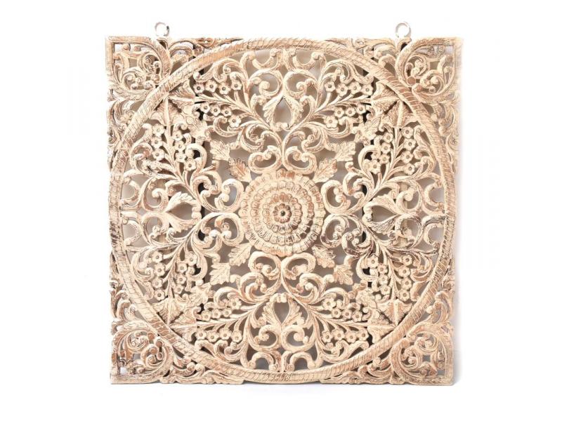 Ručně vyřezaná mandala z mangového dřeva, bílá patina, 130x3x130cm
