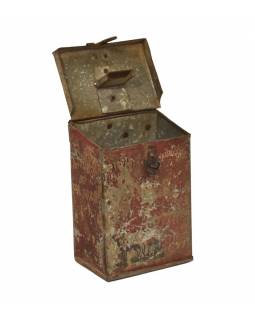 Antik plechová kasička, ručně malovaná, 12x8x16cm