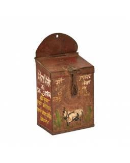 Antik plechová kasička, ručně malovaná, 11x8x16cm