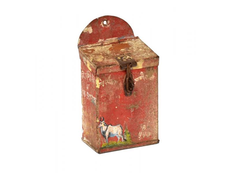 Antik plechová kasička, ručně malovaná, 11x6x15cm
