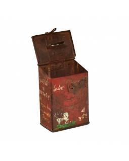 Antik plechová kasička, ručně malovaná, 10x7x15cm