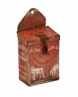 Antik plechová kasička, ručně malovaná, 11x7x15cm
