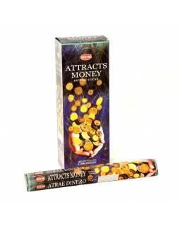 Indické vonné tyčinky Attracts Money, HEM, 23cm, 20ks