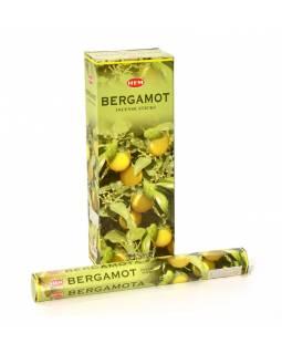 Indické vonné tyčinky Bergamot, HEM, 23cm, 20ks