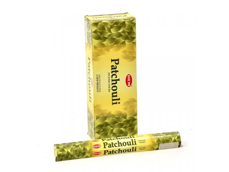 Indické vonné tyčinky Patchouli, HEM, 23cm, 20ks