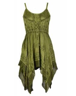 Krátké zelené šaty na ramínka, výšivka a ruční háčkování