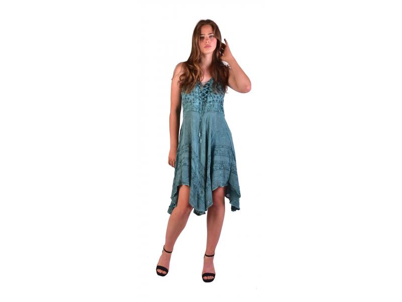 Krátké mentolové šaty na ramínka, výšivka, drobný potisk květin