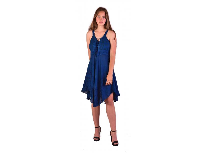 Krátké modré šaty na ramínka, výšivka, drobný potisk květin