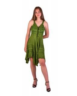 Krátké zelené šaty na ramínka, výšivka, drobný potisk květin